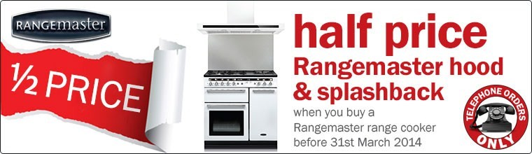 Half Price Rangemaster Splashback and Hood with selected Range Cookers