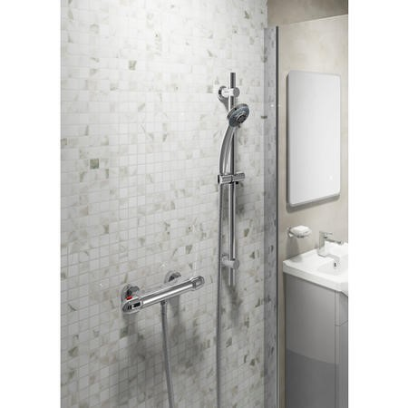 Round Shower with Thermostatic Valve & Slide Rail Kit