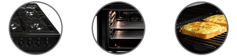 Beko Range Cooker electric double oven, electric grill and gas hob