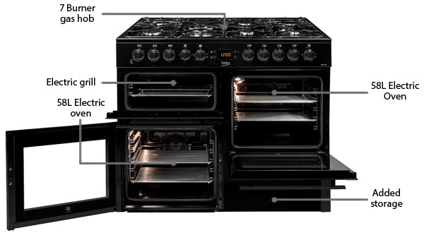 Beko BDVF100K dual fuel range cooker features