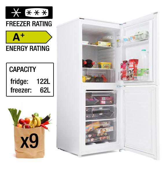 candy csc135wek 136x54cm fridge freezer in whit