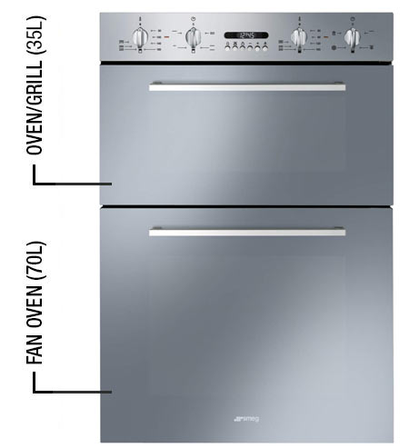 Smeg DOSF44X Cucina 60cm Stainless Steel Electric Double ...