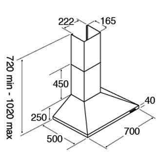 70 cm Chimney cooker hood dimensions