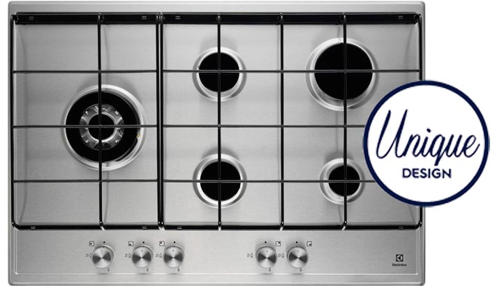 Electrolux EGH7253SOX Gas Hob with 5 burners including SideWok