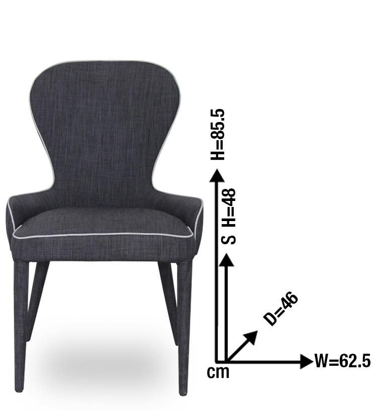 Single dark grey upholstered dining chair ebay for Grey single chair