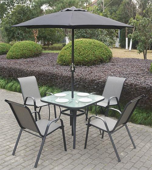 Black Metal 4 Seater Garden Furniture Dining Set Parasol Included FTR010