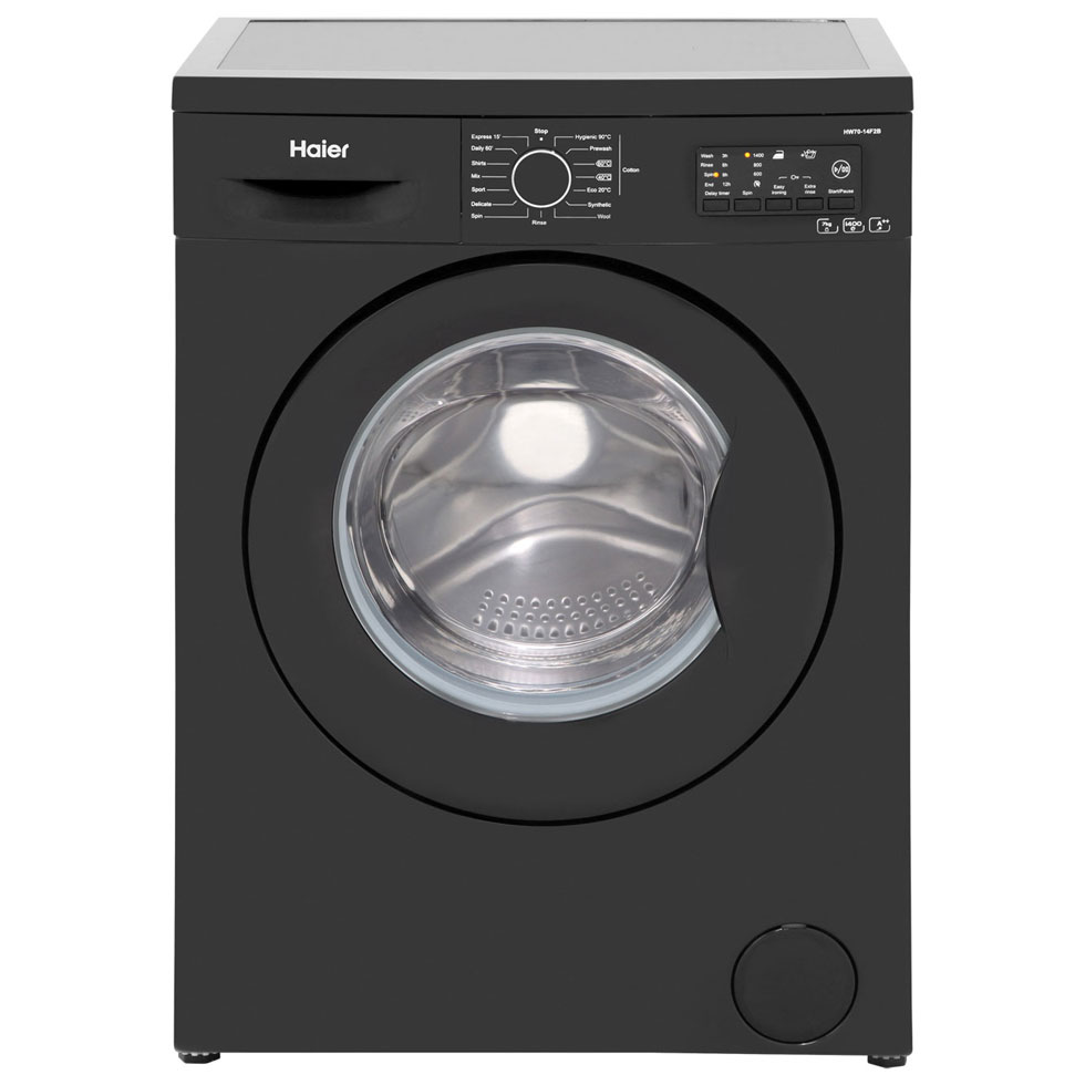 haier hw70 14f2b 7kg 1400rpm freestanding black washing. Black Bedroom Furniture Sets. Home Design Ideas