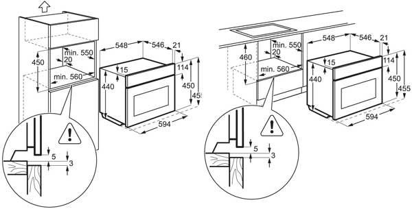 AEG KS8400501M technical drawing and dimensions