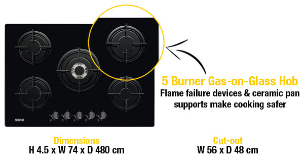 Zanussi Gas-on-glass hob with 5 burners
