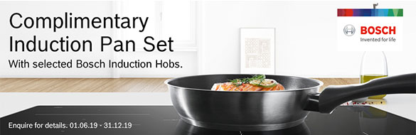 Bosch Free Pan Set with selected cookers offer banner.