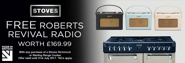 Free Roberts Radio with selected Stoves Range Cookers