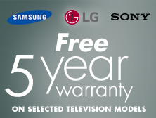 Free 5 Year Warranty on selected Samsung TVs