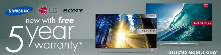 TVs with Free 5 Year Warranty
