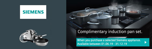 complimentary induction pan set with selected siemens hobs offer banner.