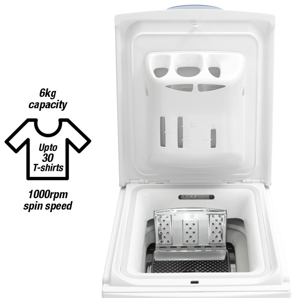 Whirlpool AWE6761 Top-loading Washing Machine, 6kg capacity can wash up to 30 t-shirts, 1000rpm spin speed