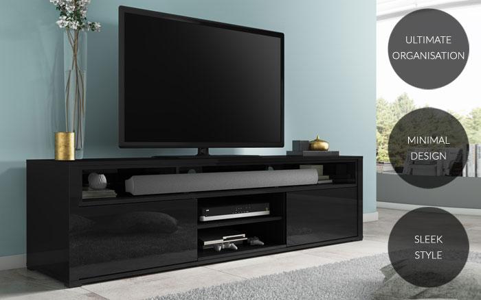 Black High Gloss TV Unit With Soundbar Shelf & Storage