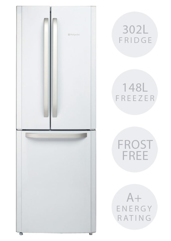 Hotpoint FFU3DW fridge freezer with French style doors