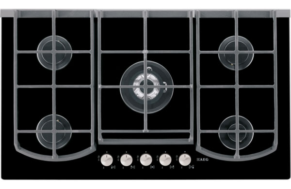 AEG HG995440NB 5 burner gas-on-glass hob
