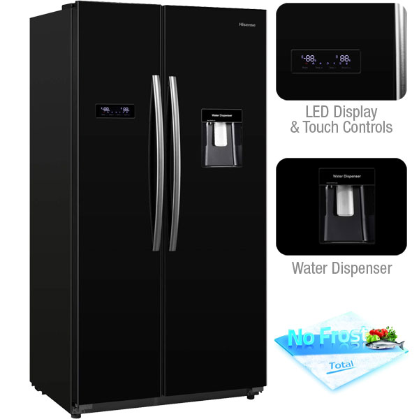 Hisense RS723N4WB1 American Fridge Freezer with water dispenser and LED display