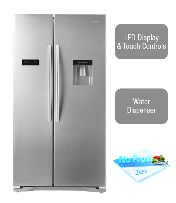 Hisense RS723N4WC1 American Fridge Freezer with water dispenser and LED display