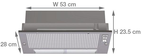 Dimensions  sc 1 st  Appliances Direct & Neff D5625X0GB 53cm Wide Canopy Cooker Hood - Silver Grey Metallic ...