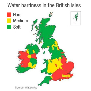 water hardness in the british isles?
