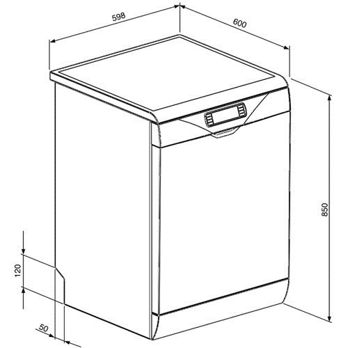 Smeg dc122b 1 full size 12 place freestanding dishwasher for Lavastoviglie misure standard