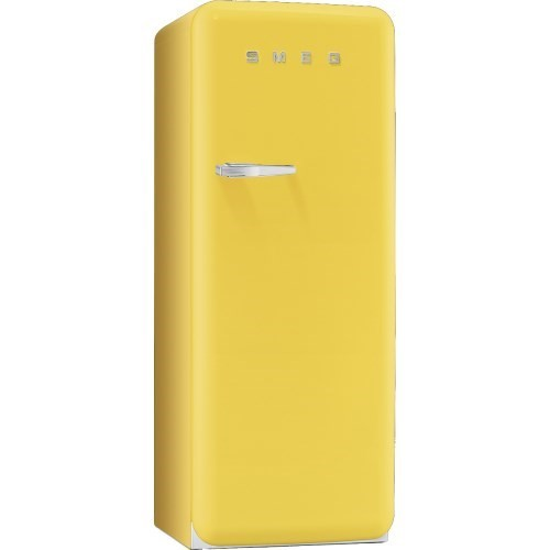Smeg yellow freestanding fridge