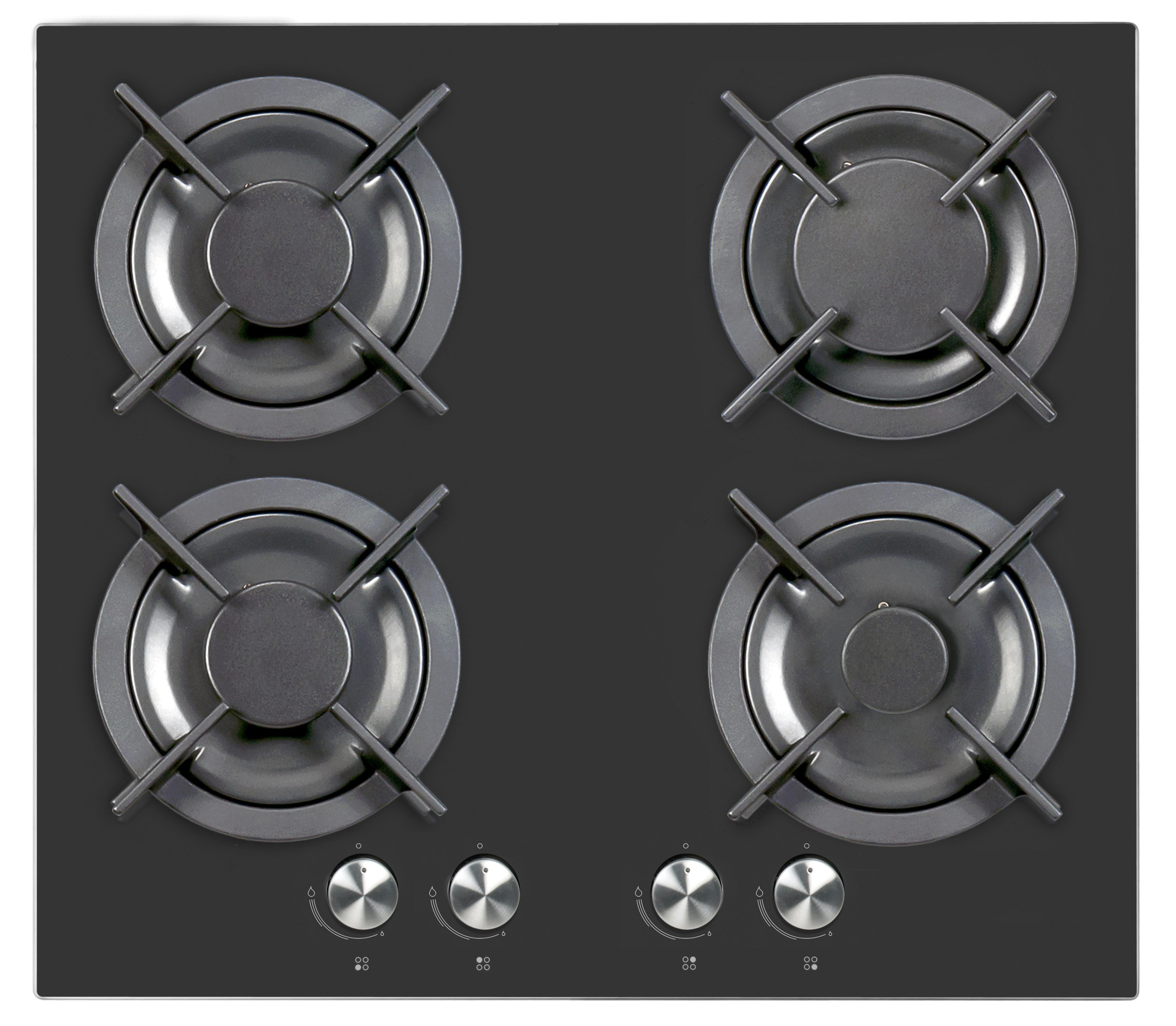 iq 60cm 4 burner gas on glass hob mirrored black glass iqgh602b appliances direct. Black Bedroom Furniture Sets. Home Design Ideas