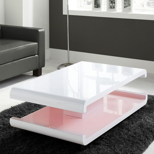 Small Coffee Tables B M: White High Gloss Coffee Table With Multi-Colour LED Lighting