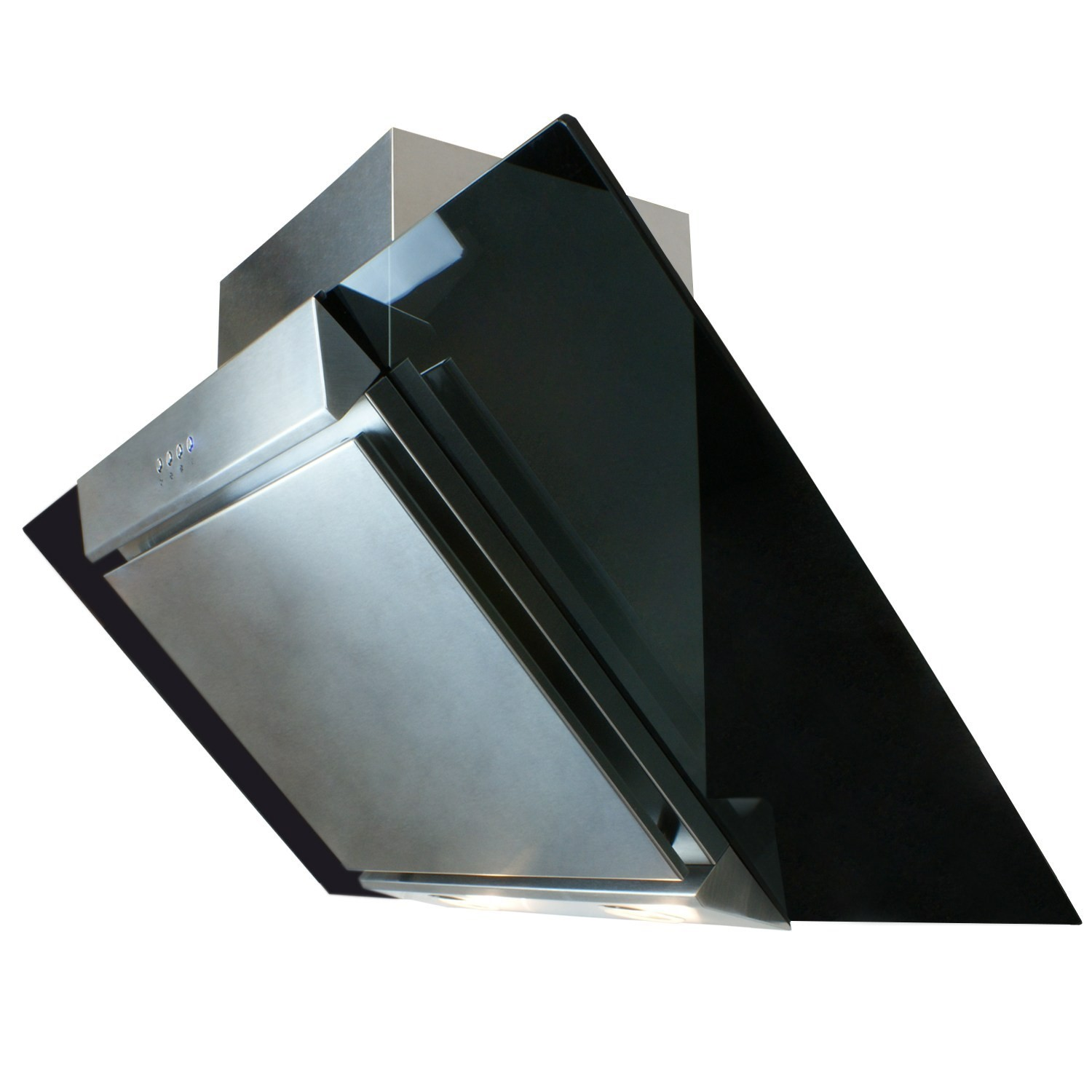 electriq eiqchfgbss90 90cm angled glass and steel designer