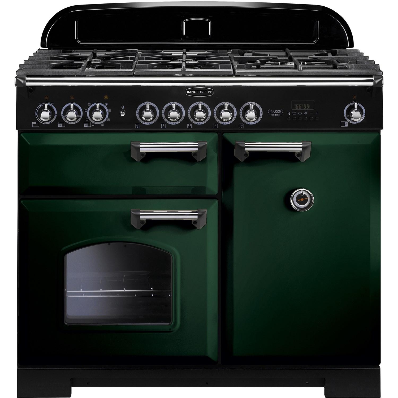 Image of Rangemaster 113810 Classic Deluxe 100 cm Dual Fuel Range Cooker - Green Chrome